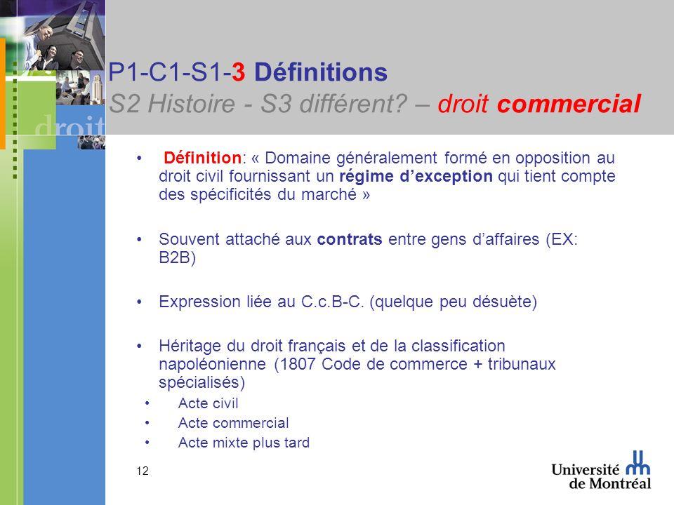 12 P1-C1-S1-3 Définitions S2 Histoire - S3 différent? – droit commercial Définition: « Domaine généralement formé en opposition au droit civil fournis