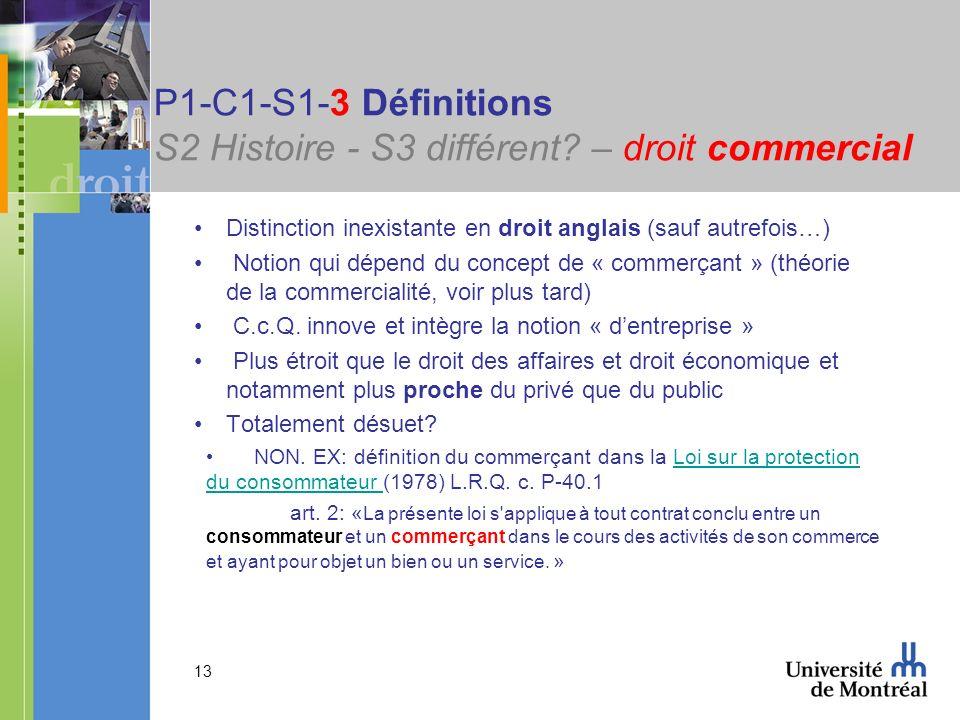 13 P1-C1-S1-3 Définitions S2 Histoire - S3 différent? – droit commercial Distinction inexistante en droit anglais (sauf autrefois…) Notion qui dépend