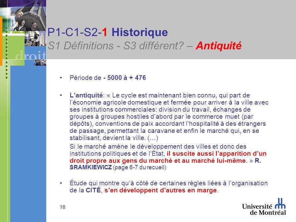 18 P1-C1-S2-1 Historique S1 Définitions - S3 différent? – Antiquité Période de - 5000 à + 476 Lantiquité: « Le cycle est maintenant bien connu, qui pa