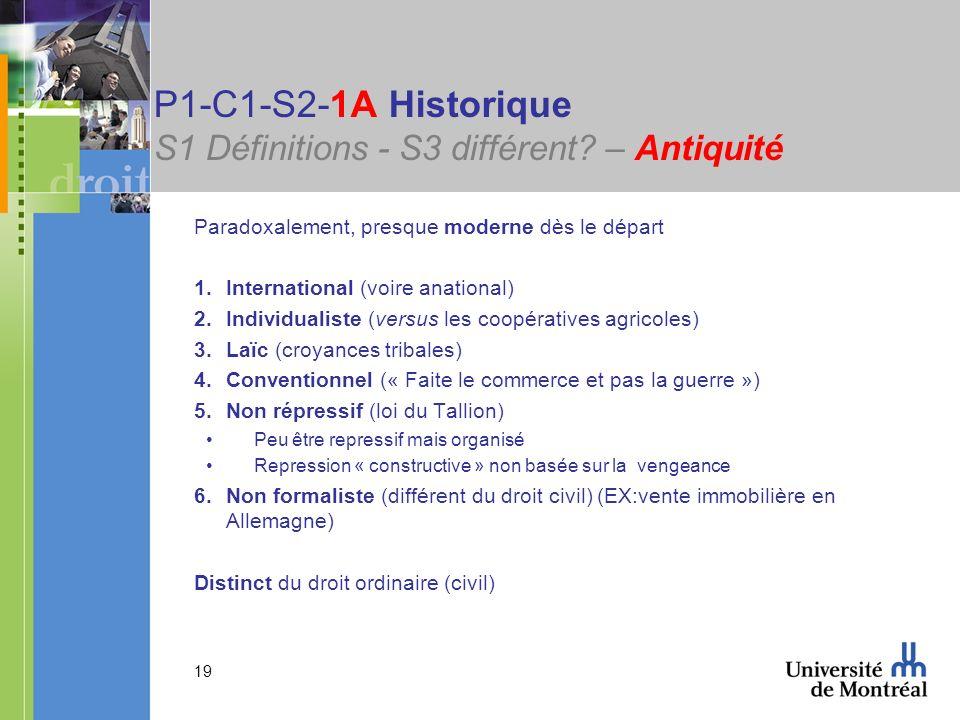 19 P1-C1-S2-1A Historique S1 Définitions - S3 différent? – Antiquité Paradoxalement, presque moderne dès le départ 1.International (voire anational) 2