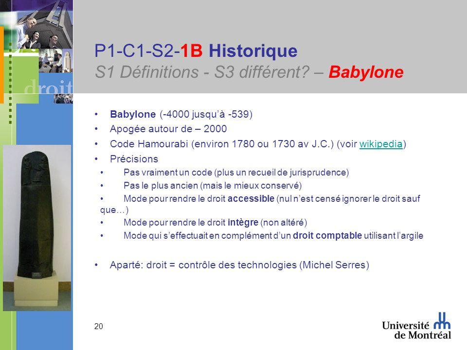 20 P1-C1-S2-1B Historique S1 Définitions - S3 différent? – Babylone Babylone (-4000 jusquà -539) Apogée autour de – 2000 Code Hamourabi (environ 1780