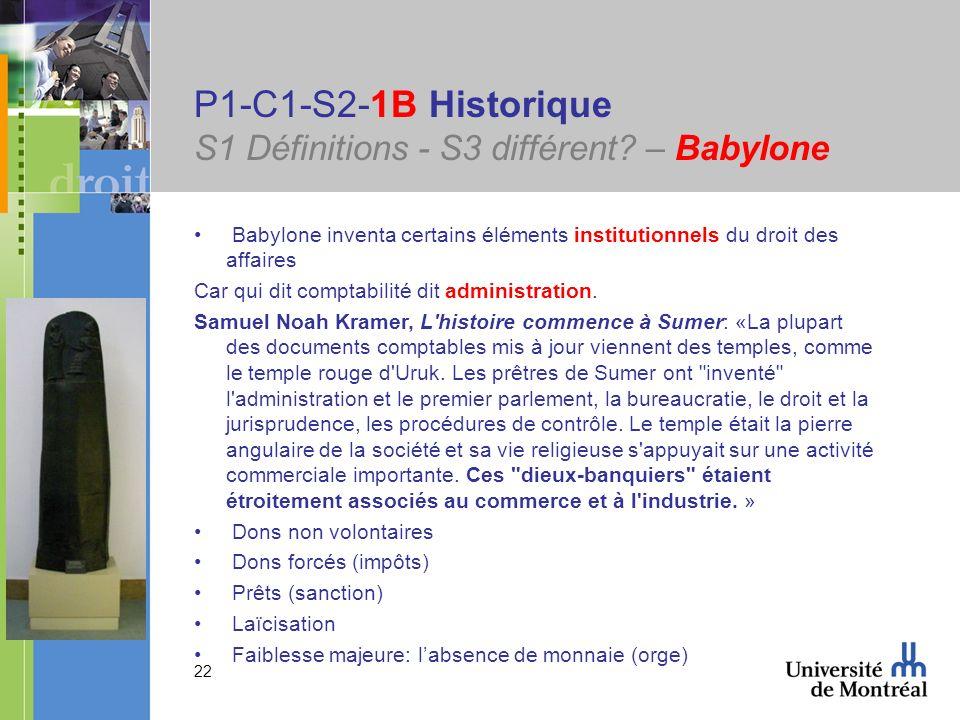 22 P1-C1-S2-1B Historique S1 Définitions - S3 différent? – Babylone Babylone inventa certains éléments institutionnels du droit des affaires Car qui d