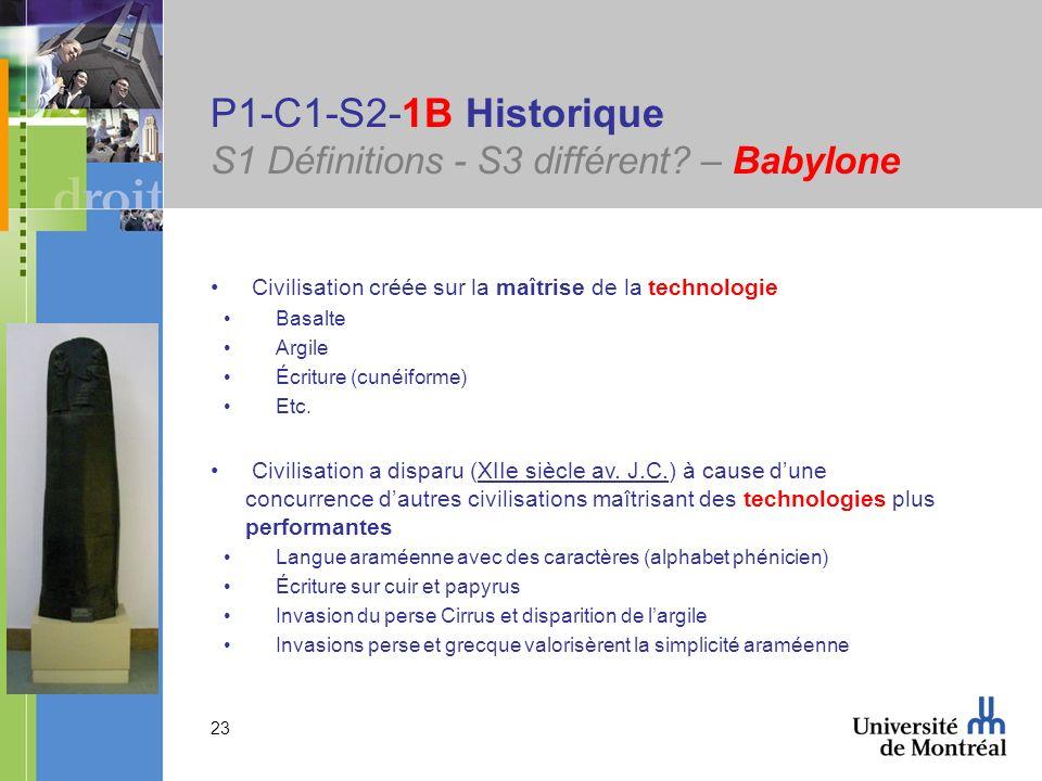 23 P1-C1-S2-1B Historique S1 Définitions - S3 différent? – Babylone Civilisation créée sur la maîtrise de la technologie Basalte Argile Écriture (cuné