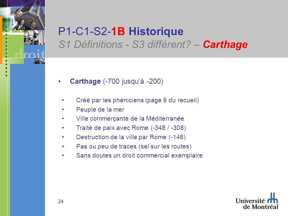 24 P1-C1-S2-1B Historique S1 Définitions - S3 différent? – Carthage Carthage (-700 jusquà -200) Créé par les phéniciens (page 9 du recueil) Peuple de
