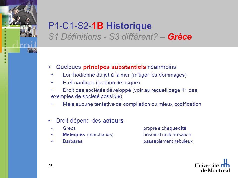 26 P1-C1-S2-1B Historique S1 Définitions - S3 différent? – Grèce Quelques principes substantiels néanmoins Loi rhodienne du jet à la mer (mitiger les