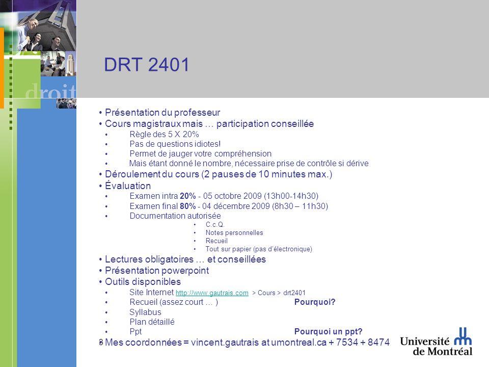 3 DRT 2401 Présentation du professeur Cours magistraux mais … participation conseillée Règle des 5 X 20% Pas de questions idiotes! Permet de jauger vo