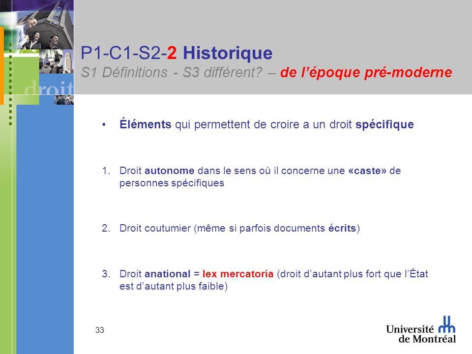 33 P1-C1-S2-2 Historique S1 Définitions - S3 différent? – de lépoque pré-moderne Éléments qui permettent de croire a un droit spécifique 1.Droit auton