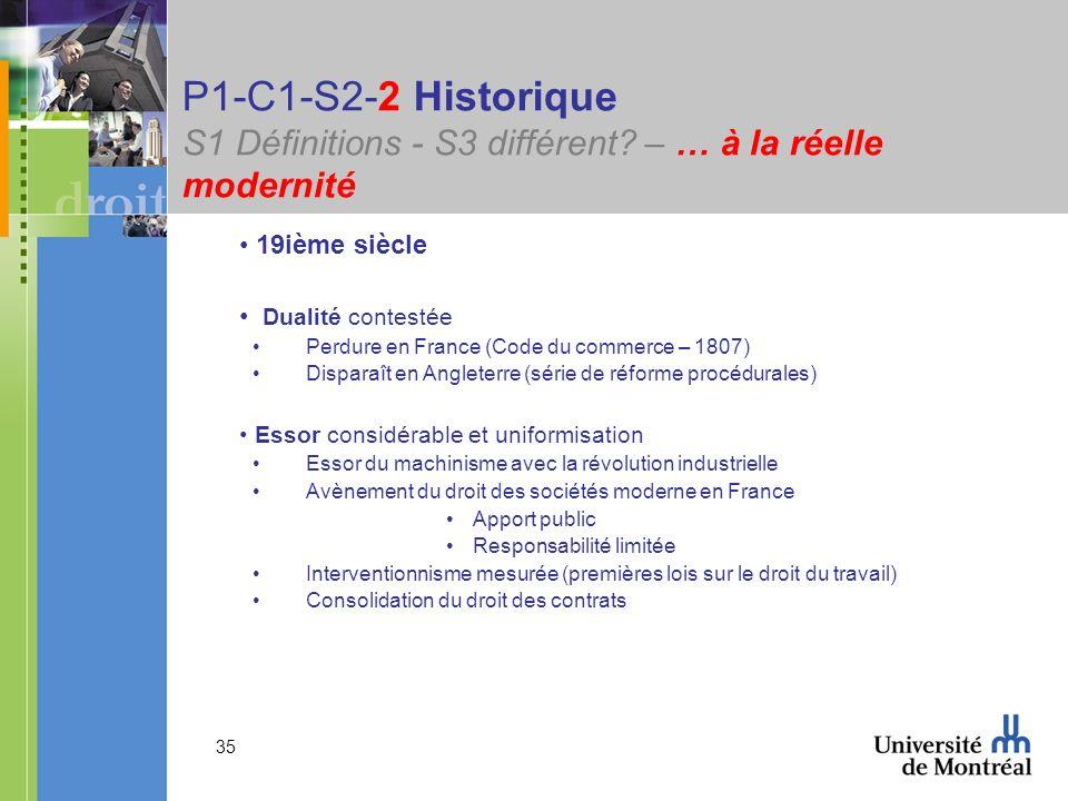 35 P1-C1-S2-2 Historique S1 Définitions - S3 différent? – … à la réelle modernité 19ième siècle Dualité contestée Perdure en France (Code du commerce