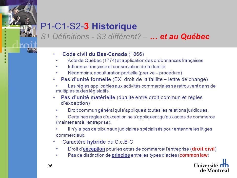 36 P1-C1-S2-3 Historique S1 Définitions - S3 différent? – … et au Québec Code civil du Bas-Canada (1866) Acte de Québec (1774) et application des ordo