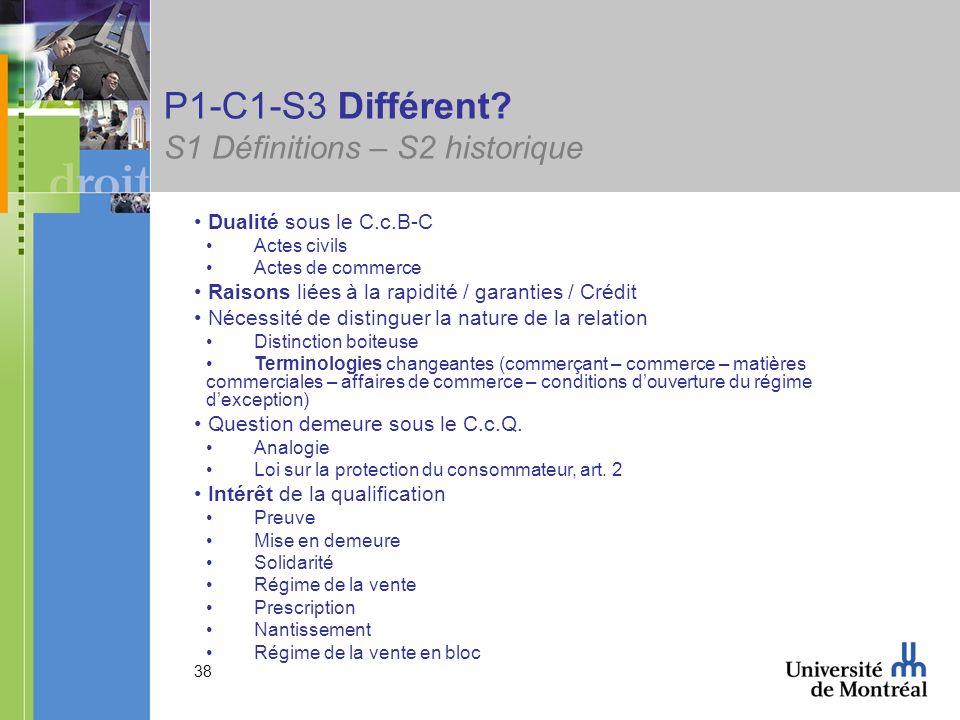 38 P1-C1-S3 Différent? S1 Définitions – S2 historique Dualité sous le C.c.B-C Actes civils Actes de commerce Raisons liées à la rapidité / garanties /