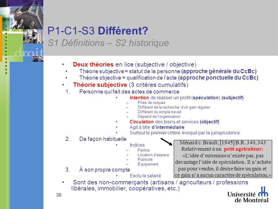 39 P1-C1-S3 Différent? S1 Définitions – S2 historique Deux théories en lice (subjective / objective) Théorie subjective = statut de la personne (appro
