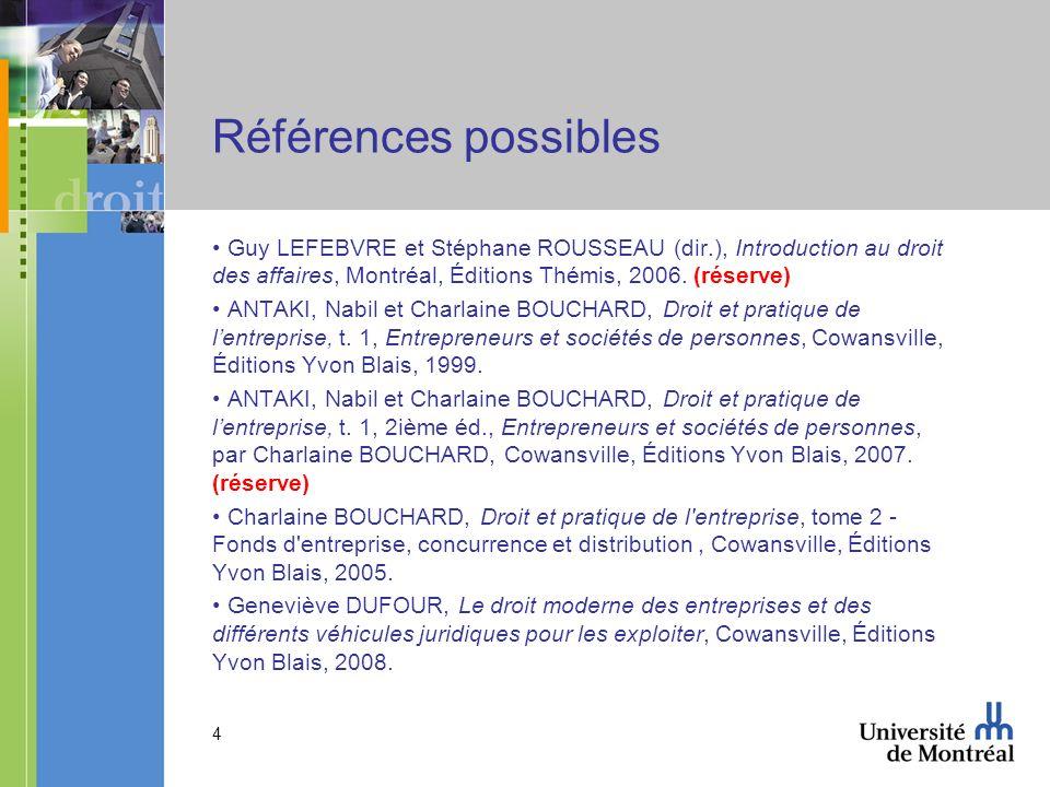 4 Références possibles Guy LEFEBVRE et Stéphane ROUSSEAU (dir.), Introduction au droit des affaires, Montréal, Éditions Thémis, 2006. (réserve) ANTAKI