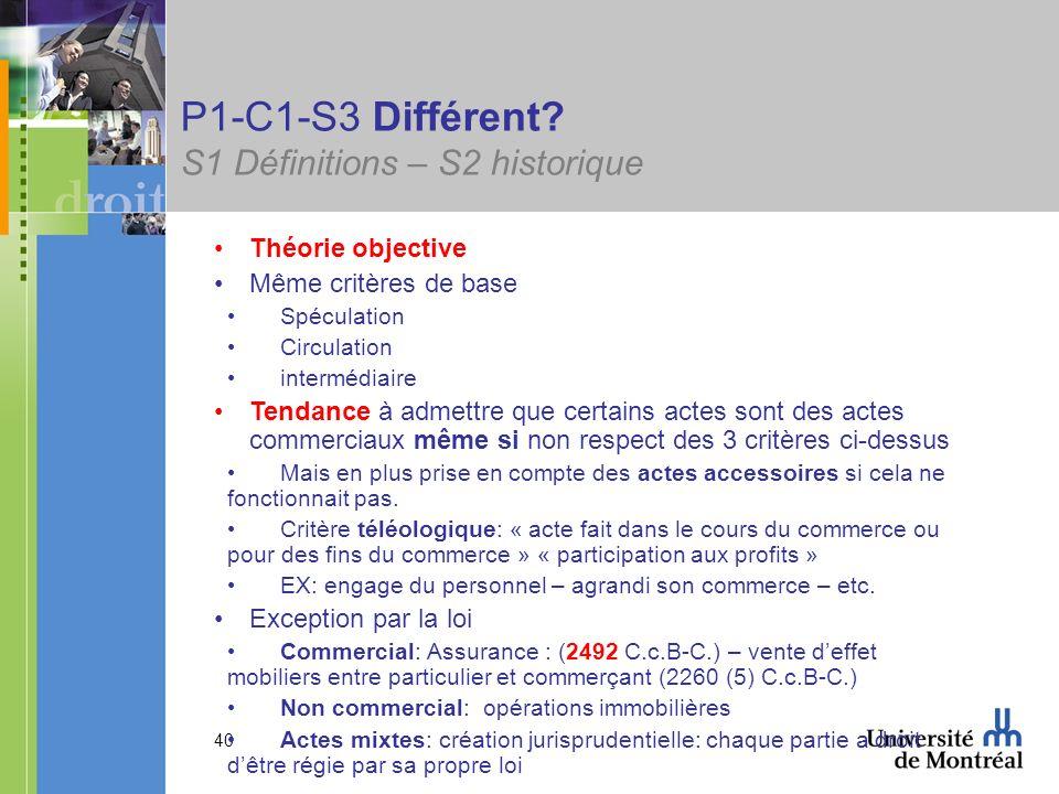 40 P1-C1-S3 Différent? S1 Définitions – S2 historique Théorie objective Même critères de base Spéculation Circulation intermédiaire Tendance à admettr