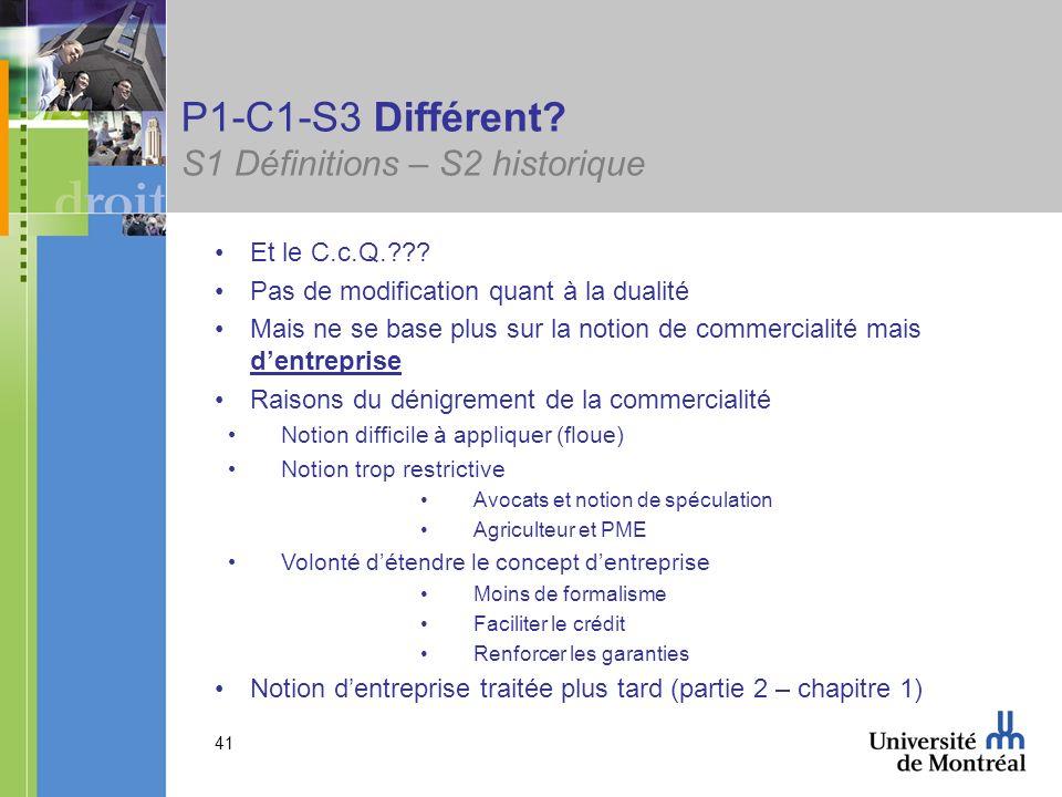 41 P1-C1-S3 Différent? S1 Définitions – S2 historique Et le C.c.Q.??? Pas de modification quant à la dualité Mais ne se base plus sur la notion de com