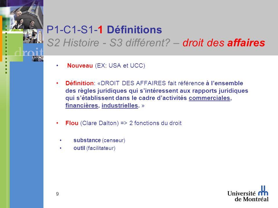 9 P1-C1-S1-1 Définitions S2 Histoire - S3 différent? – droit des affaires Nouveau (EX: USA et UCC) Définition: «DROIT DES AFFAIRES fait référence à le