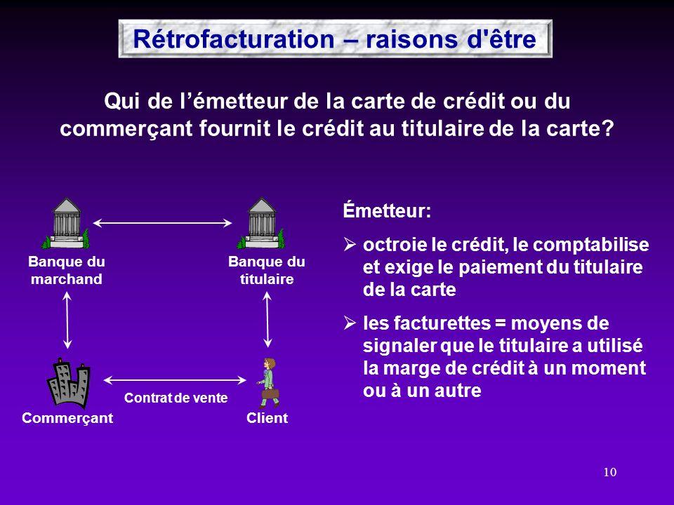 10 Qui de lémetteur de la carte de crédit ou du commerçant fournit le crédit au titulaire de la carte? ClientCommerçant Banque du marchand Banque du t