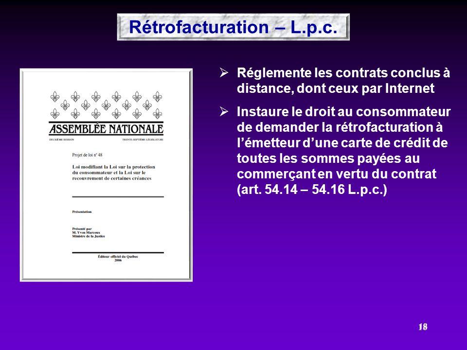 18 Réglemente les contrats conclus à distance, dont ceux par Internet Instaure le droit au consommateur de demander la rétrofacturation à lémetteur du