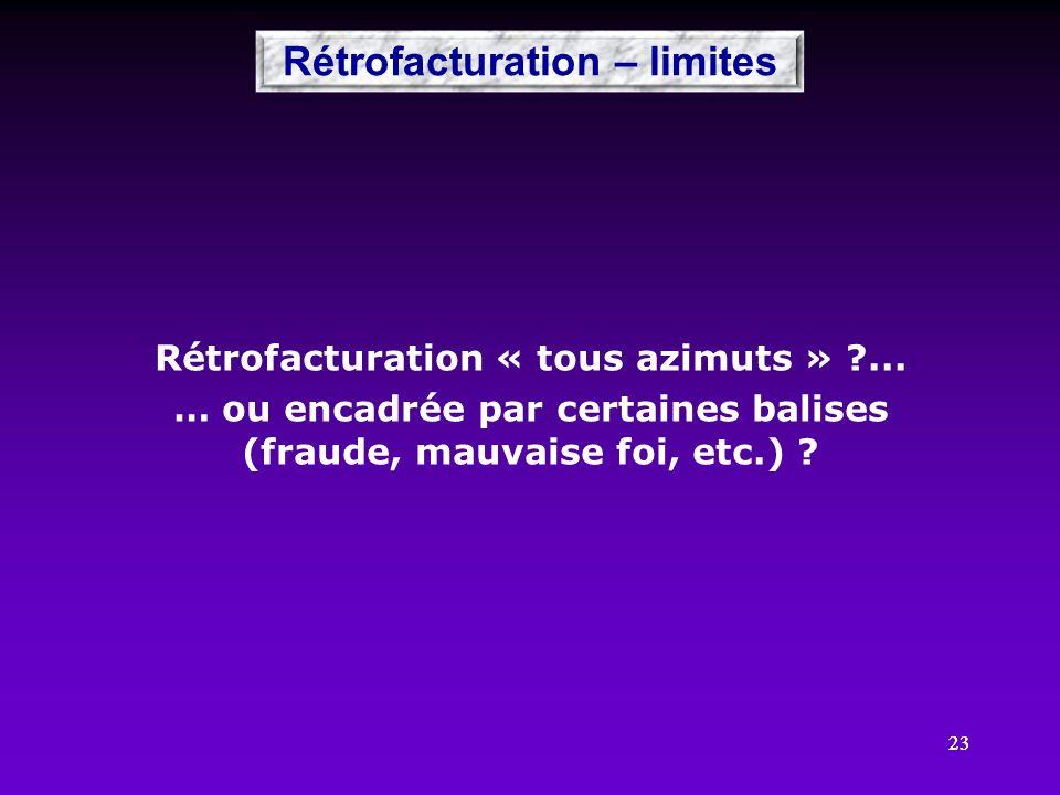 23 Rétrofacturation « tous azimuts » ?... … ou encadrée par certaines balises (fraude, mauvaise foi, etc.) ? Rétrofacturation – limites