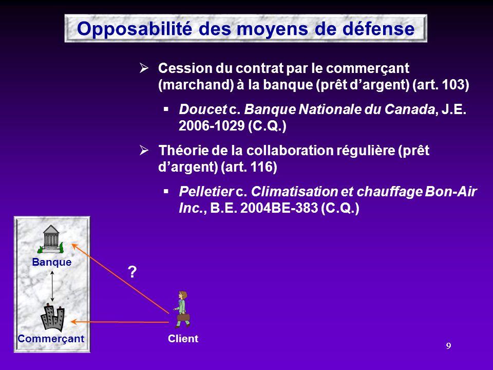 99 Cession du contrat par le commerçant (marchand) à la banque (prêt dargent) (art. 103) Doucet c. Banque Nationale du Canada, J.E. 2006-1029 (C.Q.) T