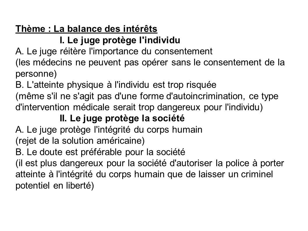 Thème : La balance des intérêts I. Le juge protège l'individu A. Le juge réitère l'importance du consentement (les médecins ne peuvent pas opérer sans