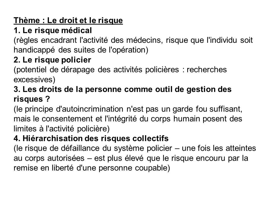 Thème : Le droit et le risque 1. Le risque médical (règles encadrant l'activité des médecins, risque que l'individu soit handicappé des suites de l'op