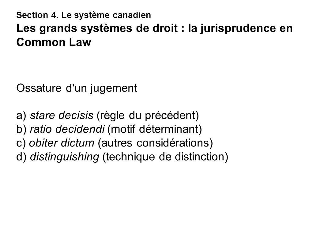 Ossature d'un jugement a) stare decisis (règle du précédent) b) ratio decidendi (motif déterminant) c) obiter dictum (autres considérations) d) distin