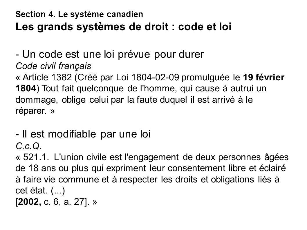 - Un code est une loi prévue pour durer Code civil français « Article 1382 (Créé par Loi 1804-02-09 promulguée le 19 février 1804) Tout fait quelconqu