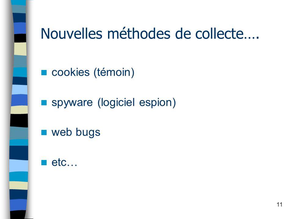 11 Nouvelles méthodes de collecte…. cookies (témoin) spyware (logiciel espion) web bugs etc…