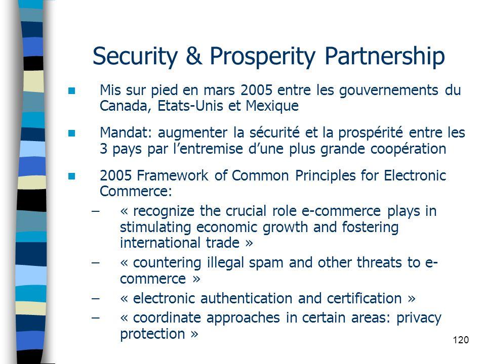 120 Security & Prosperity Partnership Mis sur pied en mars 2005 entre les gouvernements du Canada, Etats-Unis et Mexique Mandat: augmenter la sécurité