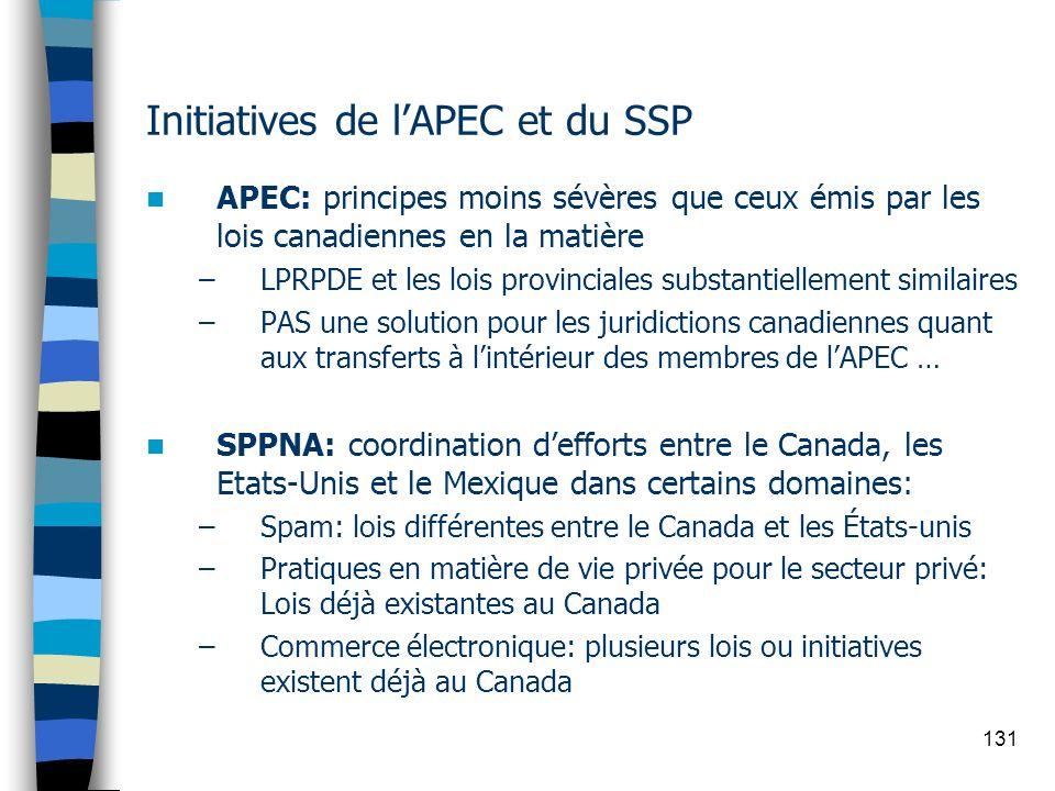 131 Initiatives de lAPEC et du SSP APEC: principes moins sévères que ceux émis par les lois canadiennes en la matière –LPRPDE et les lois provinciales