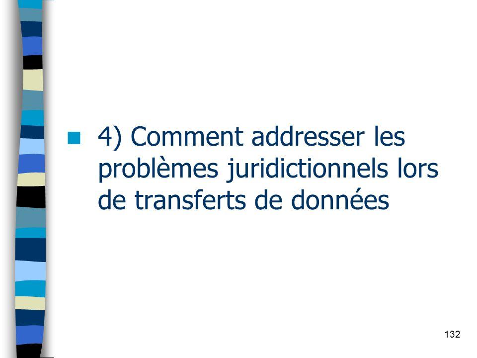 132 4) Comment addresser les problèmes juridictionnels lors de transferts de données