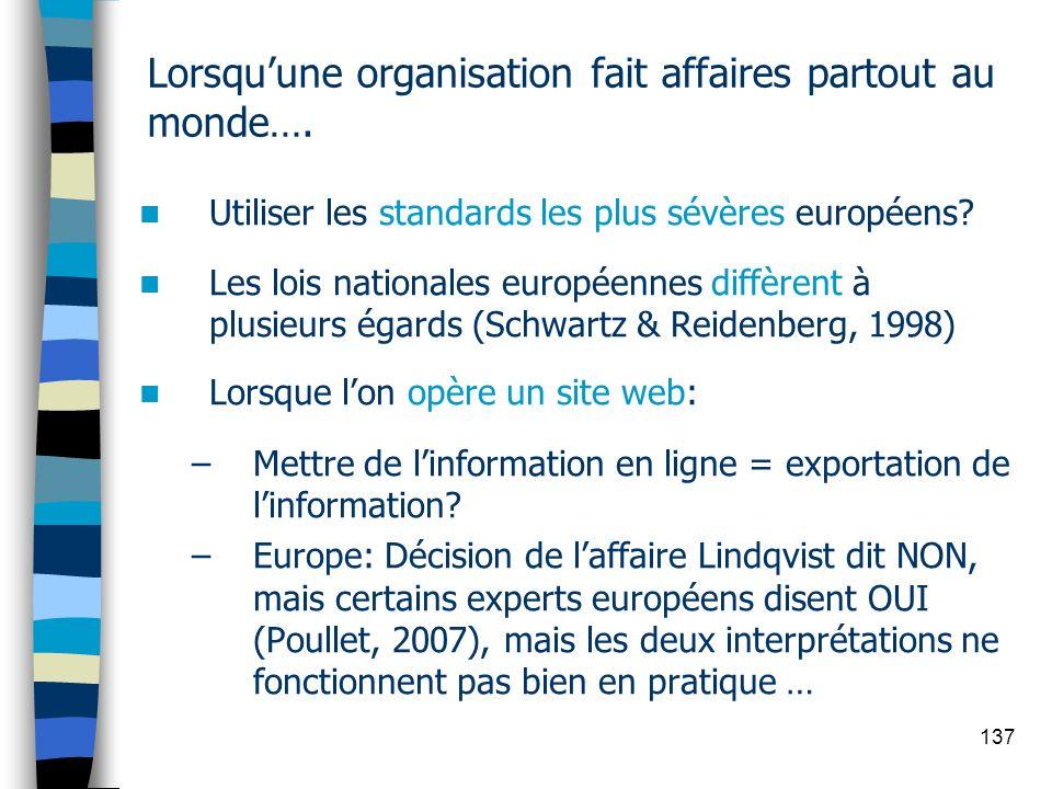 137 Lorsquune organisation fait affaires partout au monde…. Utiliser les standards les plus sévères européens? Les lois nationales européennes diffère