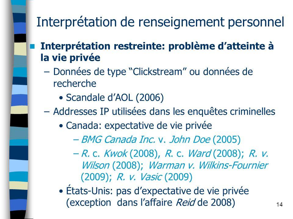 14 Interprétation de renseignement personnel Interprétation restreinte: problème datteinte à la vie privée –Données de type Clickstream ou données de
