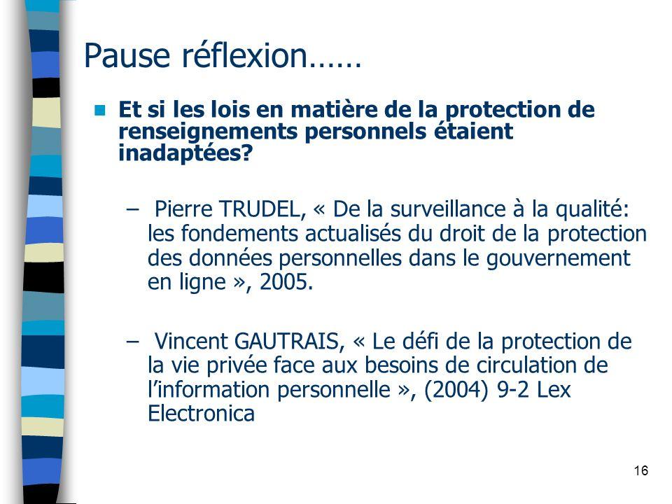 16 Pause réflexion…… Et si les lois en matière de la protection de renseignements personnels étaient inadaptées? – Pierre TRUDEL, « De la surveillance