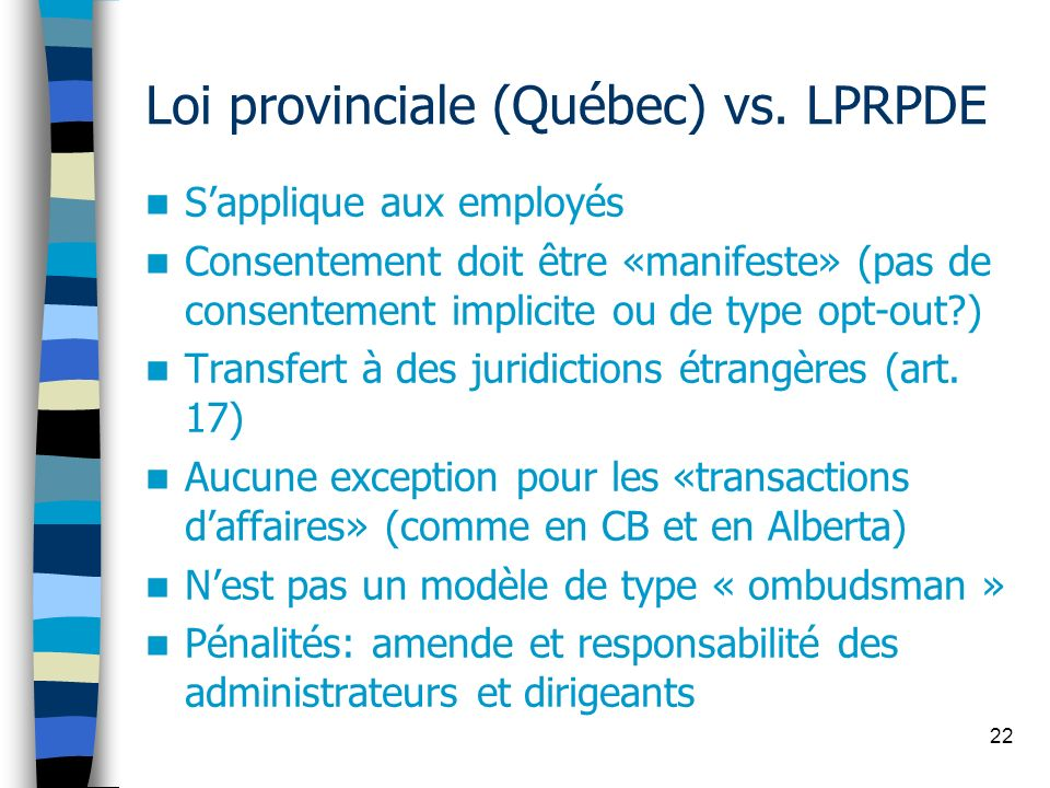 22 Loi provinciale (Québec) vs. LPRPDE Sapplique aux employés Consentement doit être «manifeste» (pas de consentement implicite ou de type opt-out?) T