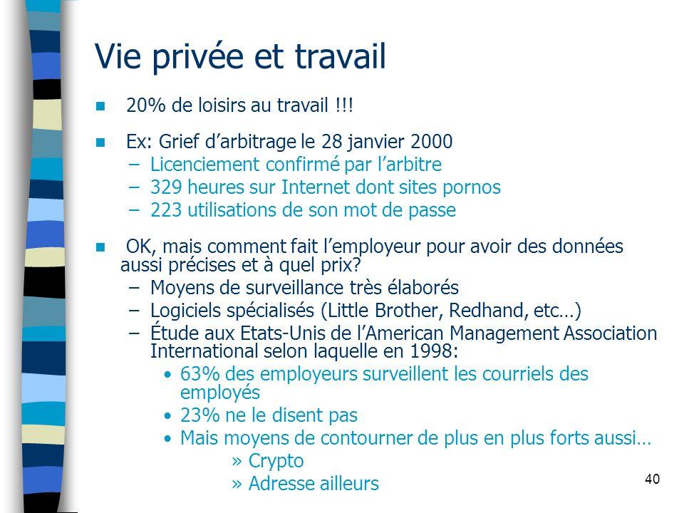 40 Vie privée et travail 20% de loisirs au travail !!! Ex: Grief darbitrage le 28 janvier 2000 –Licenciement confirmé par larbitre –329 heures sur Int