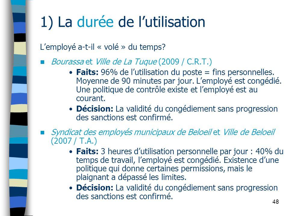 48 1) La durée de lutilisation Lemployé a-t-il « volé » du temps? Bourassa et Ville de La Tuque (2009 / C.R.T.) Faits: 96% de lutilisation du poste =