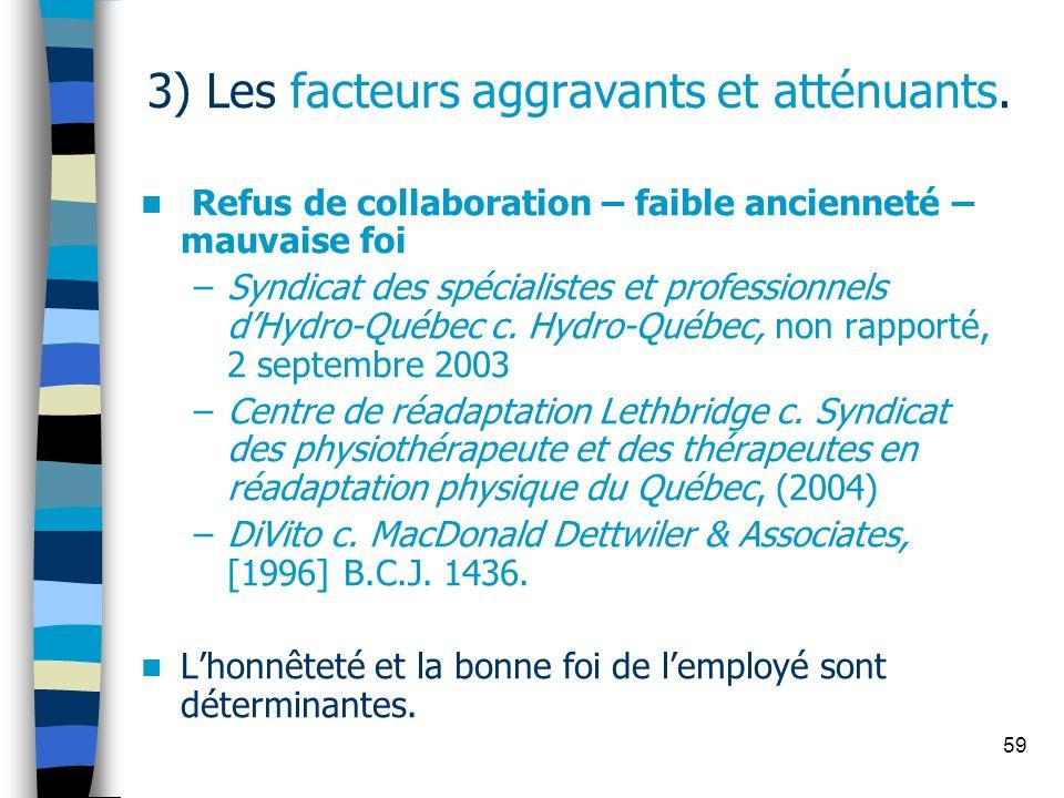 59 3) Les facteurs aggravants et atténuants. Refus de collaboration – faible ancienneté – mauvaise foi –Syndicat des spécialistes et professionnels dH