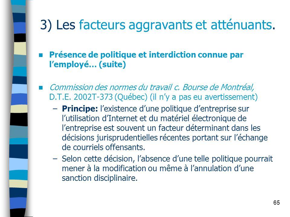 65 3) Les facteurs aggravants et atténuants. Présence de politique et interdiction connue par lemployé… (suite) Commission des normes du travail c. Bo