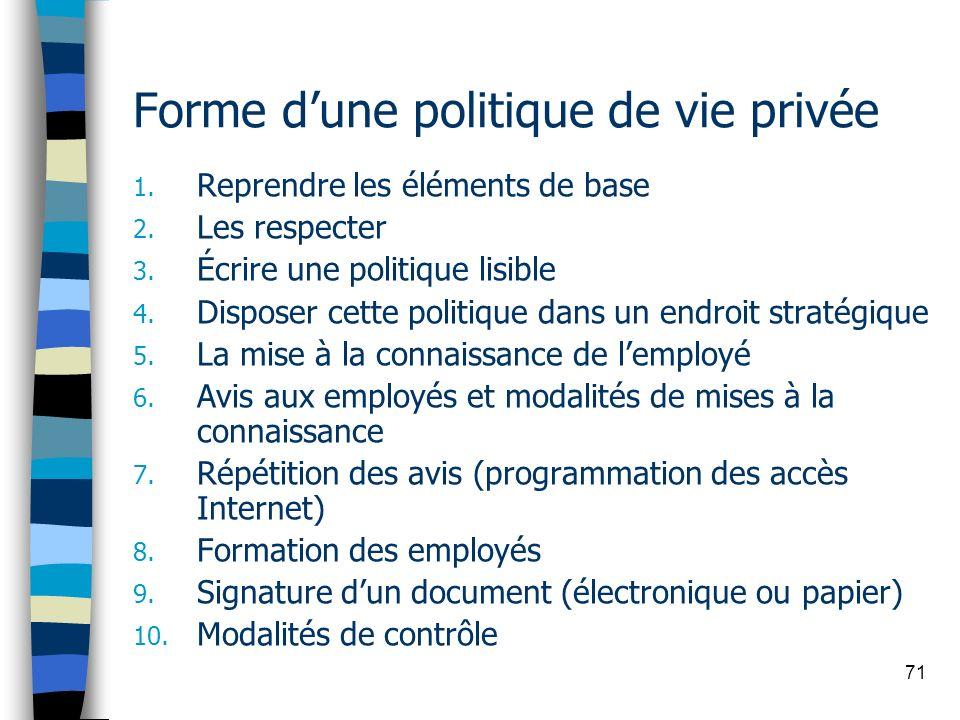 71 Forme dune politique de vie privée 1. Reprendre les éléments de base 2. Les respecter 3. Écrire une politique lisible 4. Disposer cette politique d