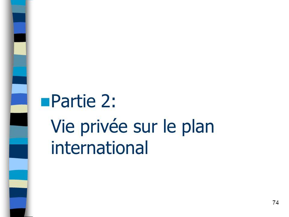 74 Partie 2: Vie privée sur le plan international