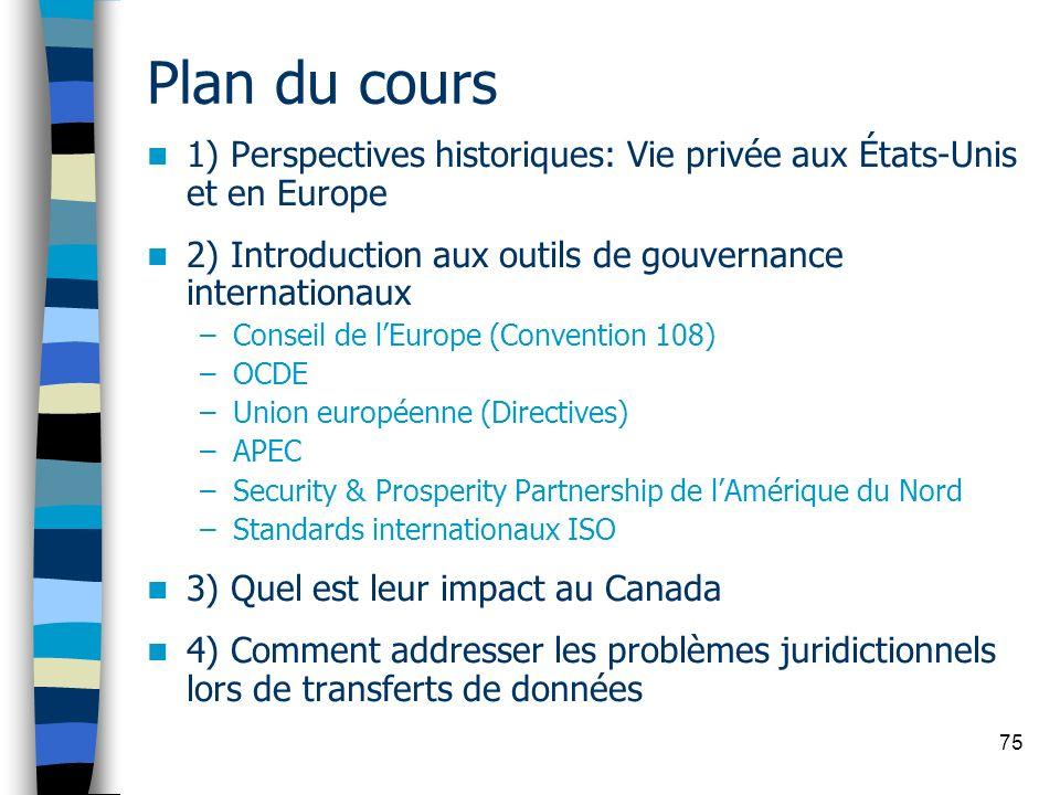 75 Plan du cours 1) Perspectives historiques: Vie privée aux États-Unis et en Europe 2) Introduction aux outils de gouvernance internationaux –Conseil