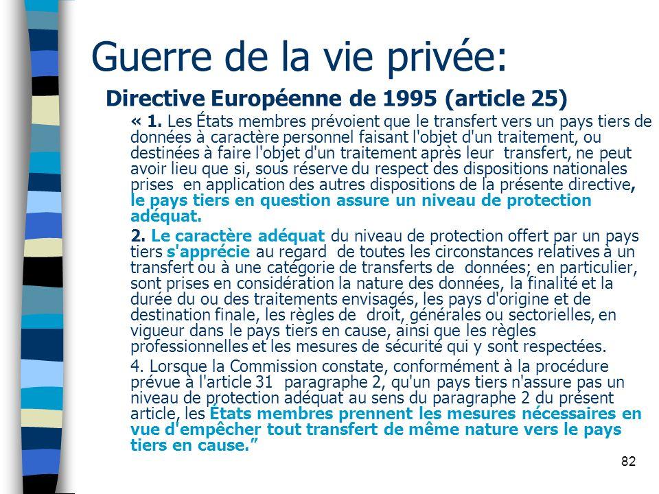 82 Guerre de la vie privée: Directive Européenne de 1995 (article 25) « 1. Les États membres prévoient que le transfert vers un pays tiers de données