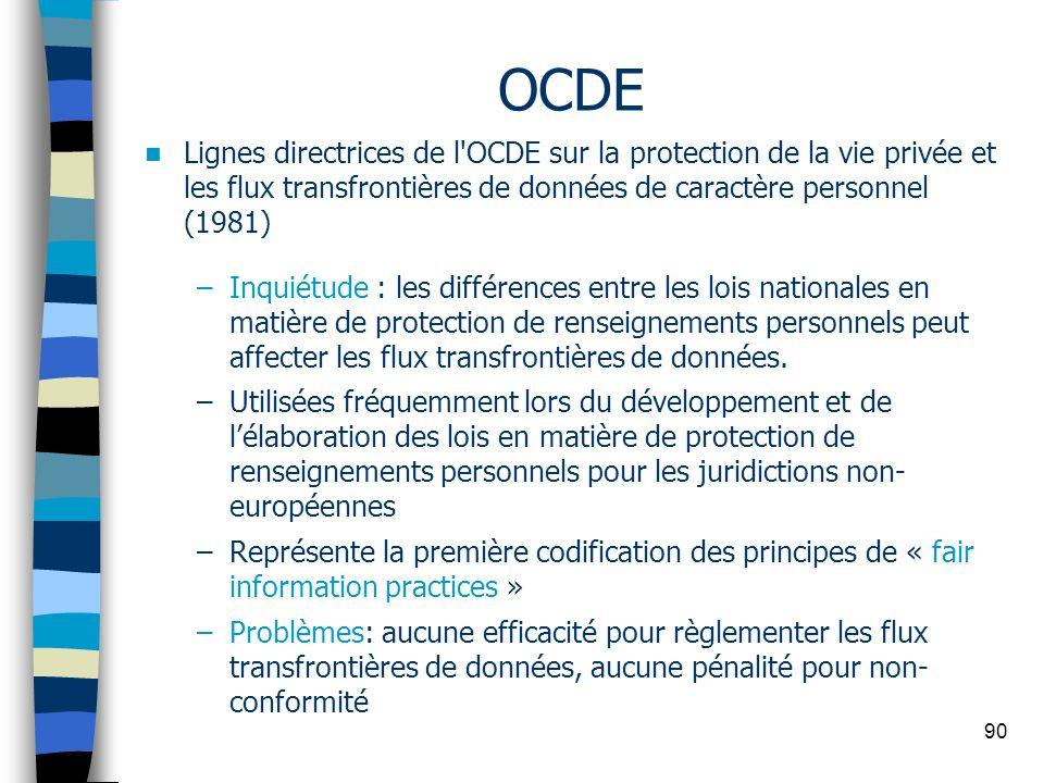 90 OCDE Lignes directrices de l'OCDE sur la protection de la vie privée et les flux transfrontières de données de caractère personnel (1981) –Inquiétu
