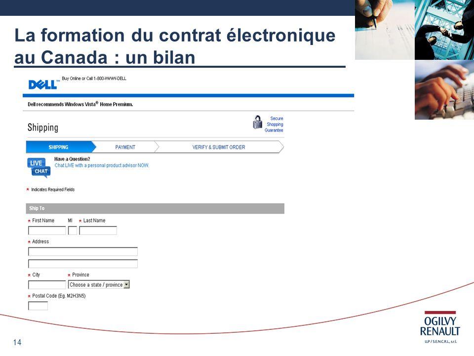 14 La formation du contrat électronique au Canada : un bilan