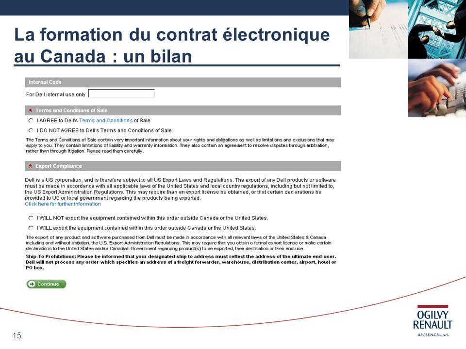 15 La formation du contrat électronique au Canada : un bilan