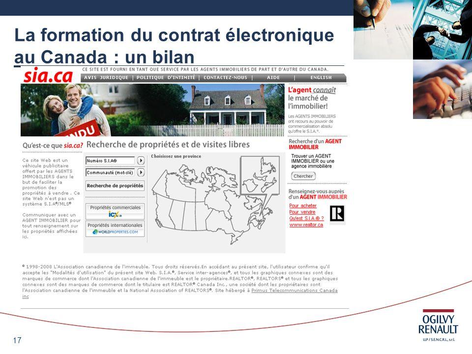 17 La formation du contrat électronique au Canada : un bilan