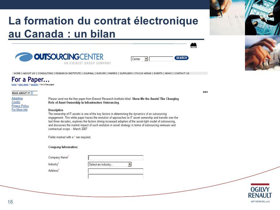 18 La formation du contrat électronique au Canada : un bilan