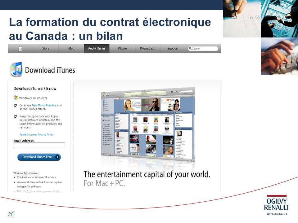 20 La formation du contrat électronique au Canada : un bilan