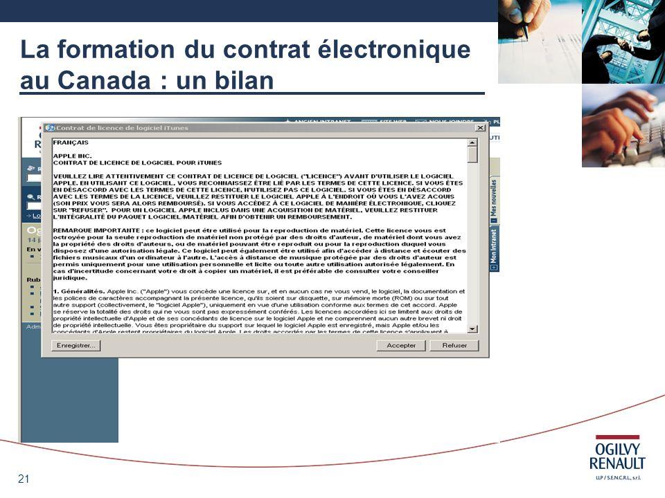 21 La formation du contrat électronique au Canada : un bilan